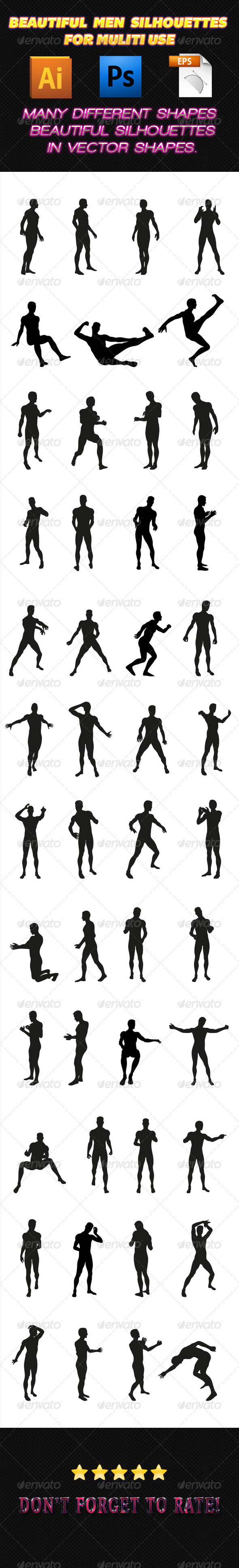 Men Silhouettes 01 - People Characters