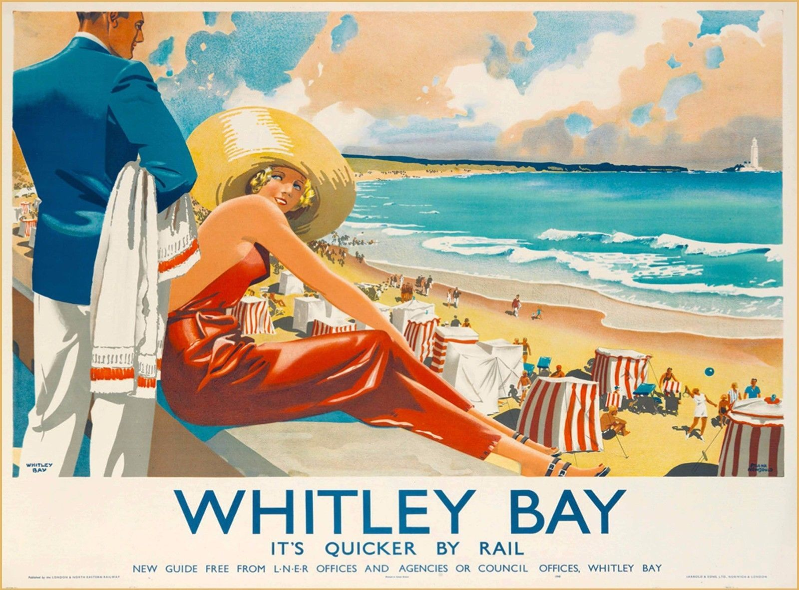 WHITLEY BAY  VINTAGE RETRO  RAILWAY TRAVEL HOLIDAY  ADVERTISING  POSTER