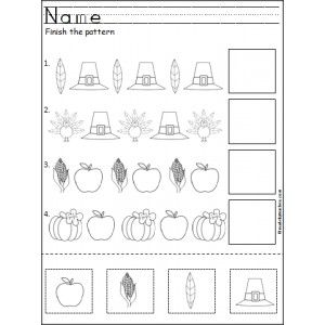 Free Thanksgiving Patterns Cut and Paste | November | Preschool ...
