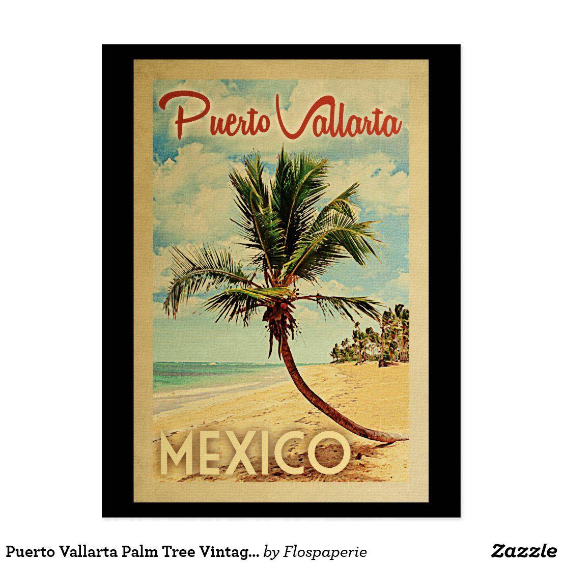 Puerto Vallarta Palm Tree Vintage Travel Postcard Zazzle Com Vintage Postcards Travel Travel Postcard Vintage Travel