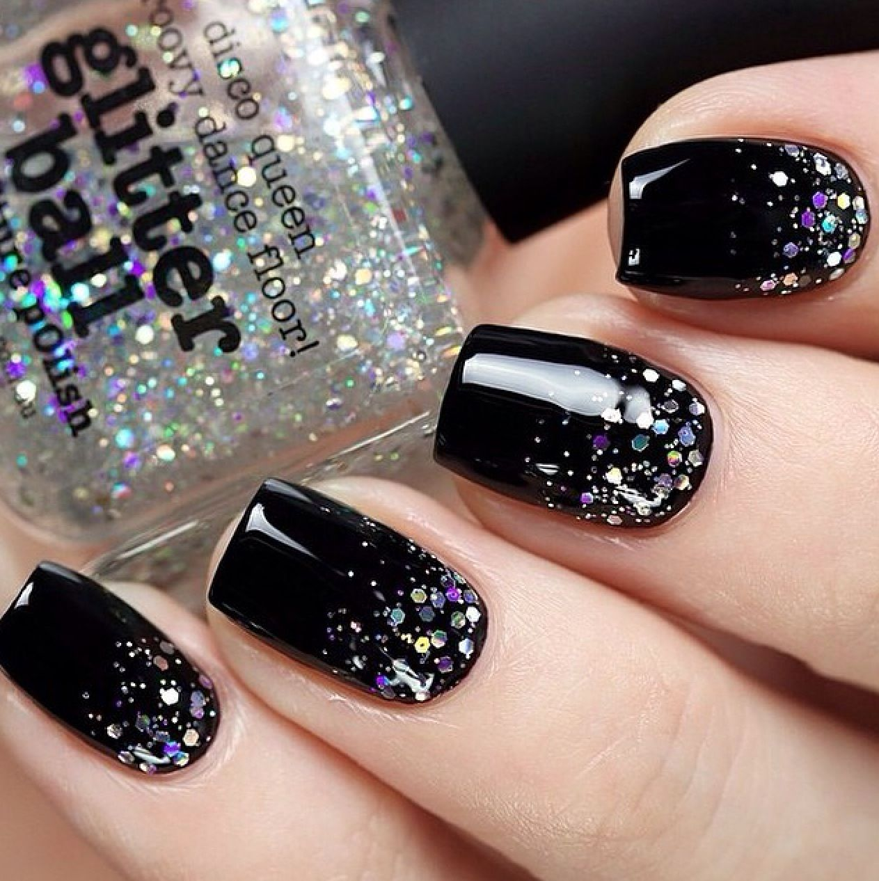 cute black with glitter nails