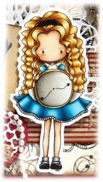 Kit and Clowder - Stamp is Tiddly Inks - Alice Time for Tea. Copics: Skin: E000, E00, E21, E11, R11 Hair: Y11, E50, E53, E31, E33 Dress: BG000, BG01, BG05, BG09 Clock: W0, W1, W3, W5