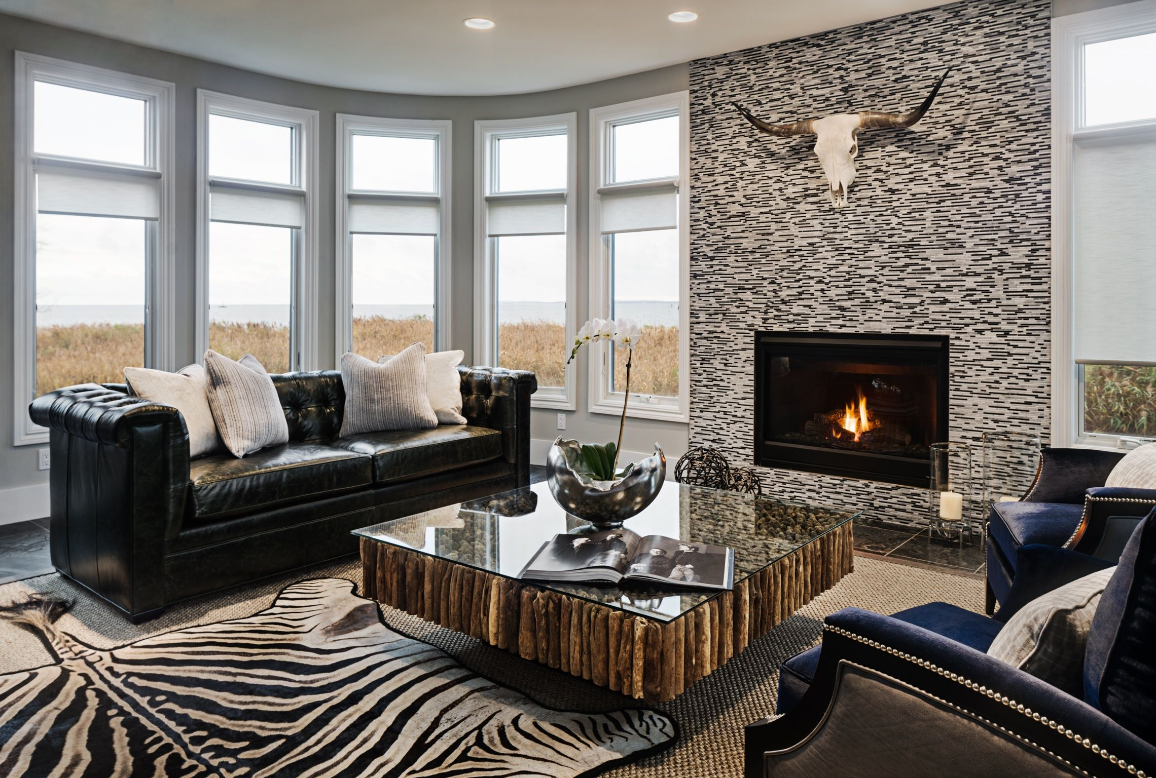 Forma Living Room Marble Fireplace Wall Modern Rustic