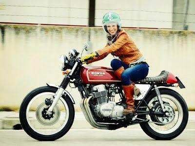 Lady on cafe racer