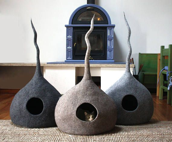 Photo of Cat cave fieltro, muebles para gatos, cama para gatos, fieltro cueva para gatos, hecho a mano en Italia