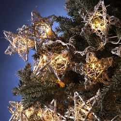 Set Of 5 Country Rustic Rattan Star Novelty Christmas Lights