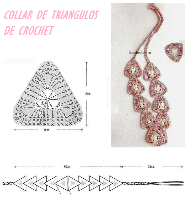 Patrones para Crochet: Collar de Triangulos de Crochet | Ganchillo ...