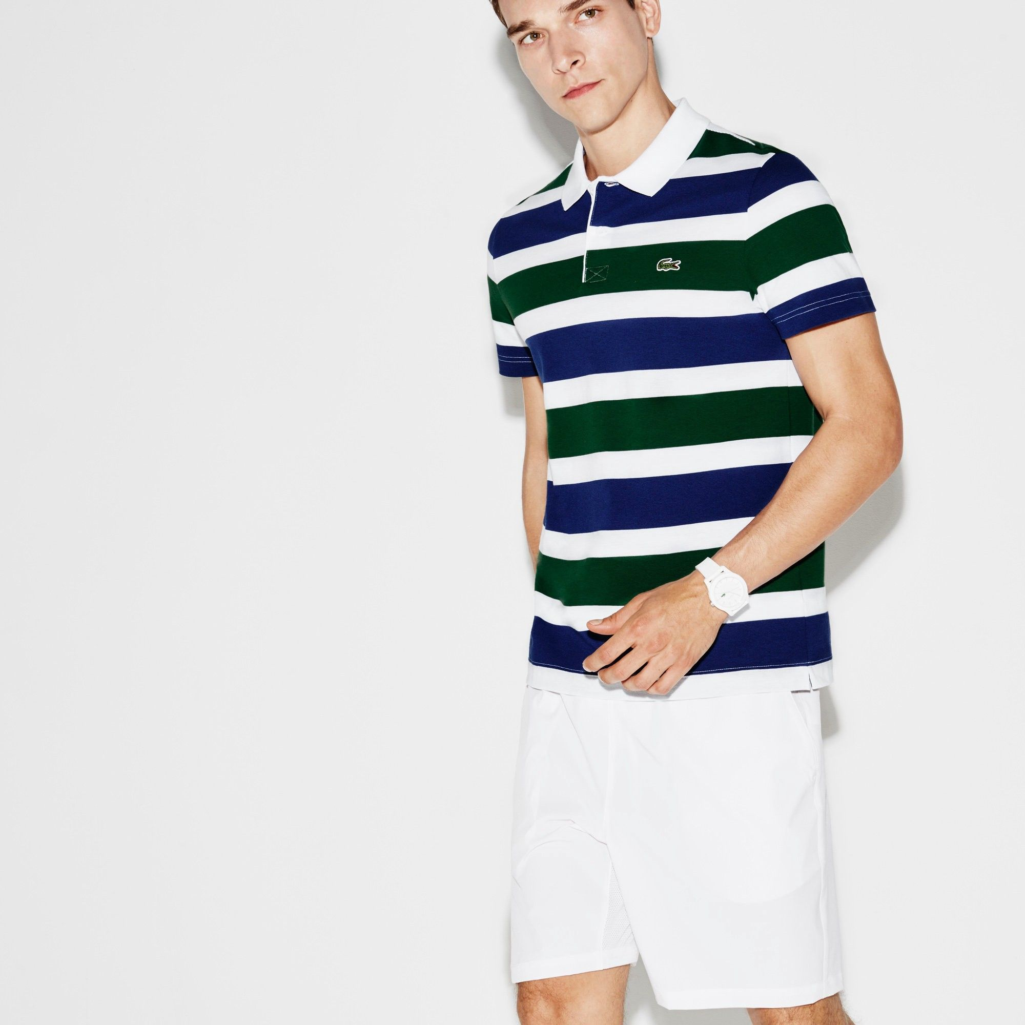 e7bb2b7c06 LACOSTE Men's Lacoste SPORT Tennis Ultra-Light Striped Knit Polo ...