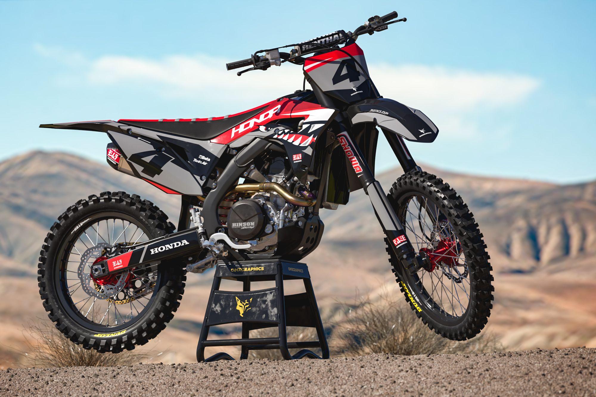 Honda Mx Graphics Shark Omxgraphics In 2020 Honda Dirt Bike Custom Dirt Bike Motocross Bikes