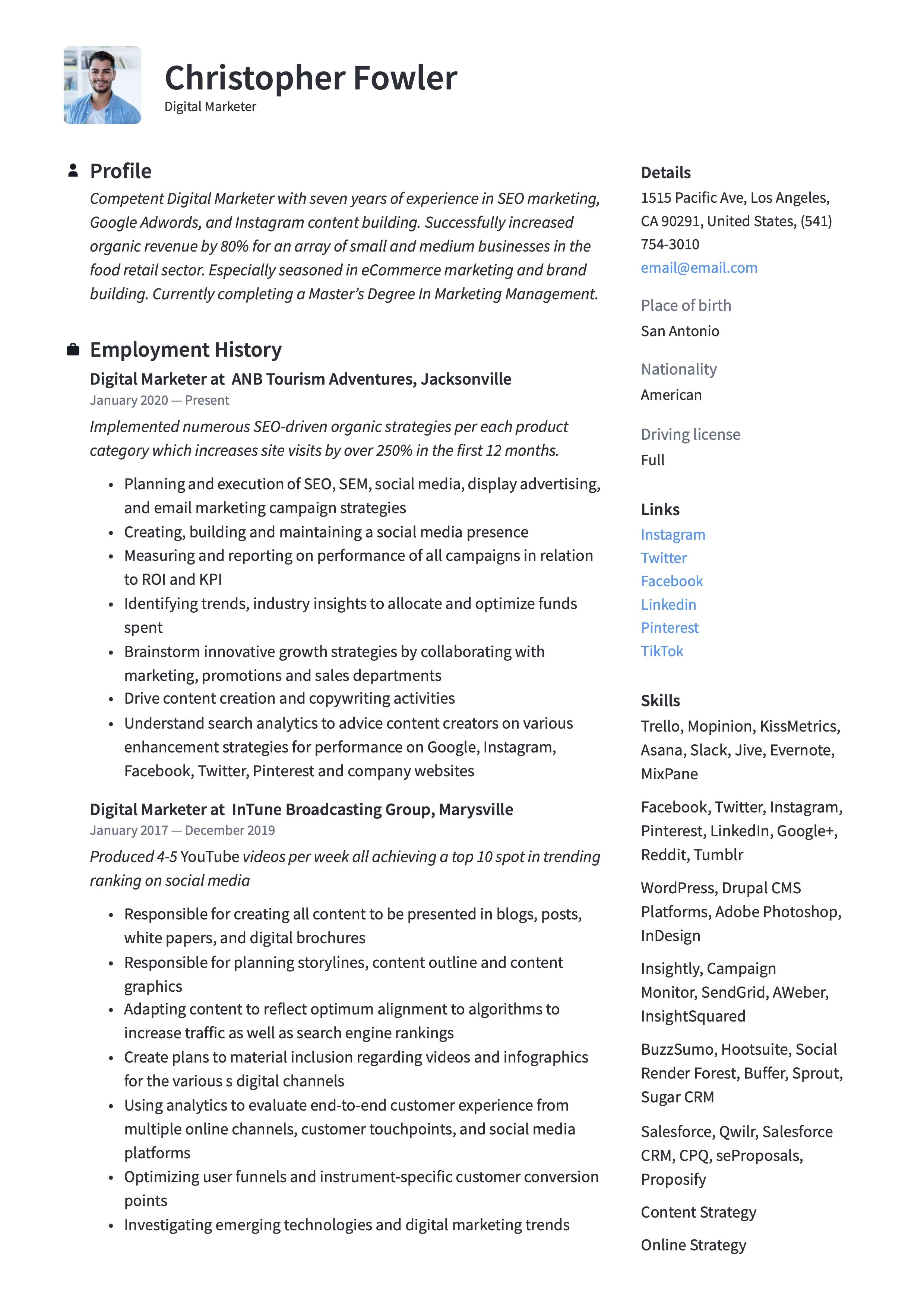 19 digital marketer resume examples guide in 2020