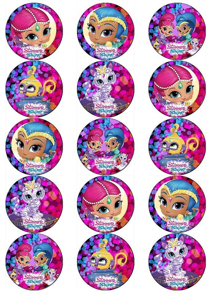 Shimmer and shine v2 edible wafer paper toppers cupcakes for Shimmer and shine craft ideas