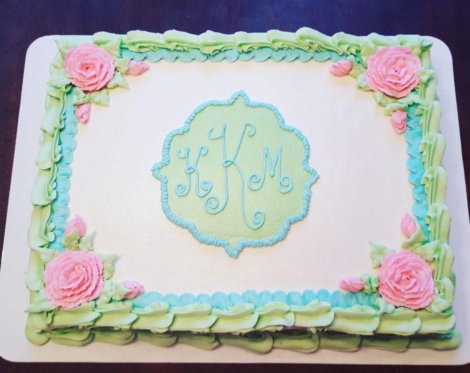 Surprising Pretty Pastel Monogram Baby Shower Birthday Sheet Cake Birthday Birthday Cards Printable Opercafe Filternl