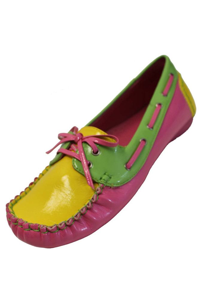 Neon Pink Lime & Yellow Bright Fashion Loafer Style Flats