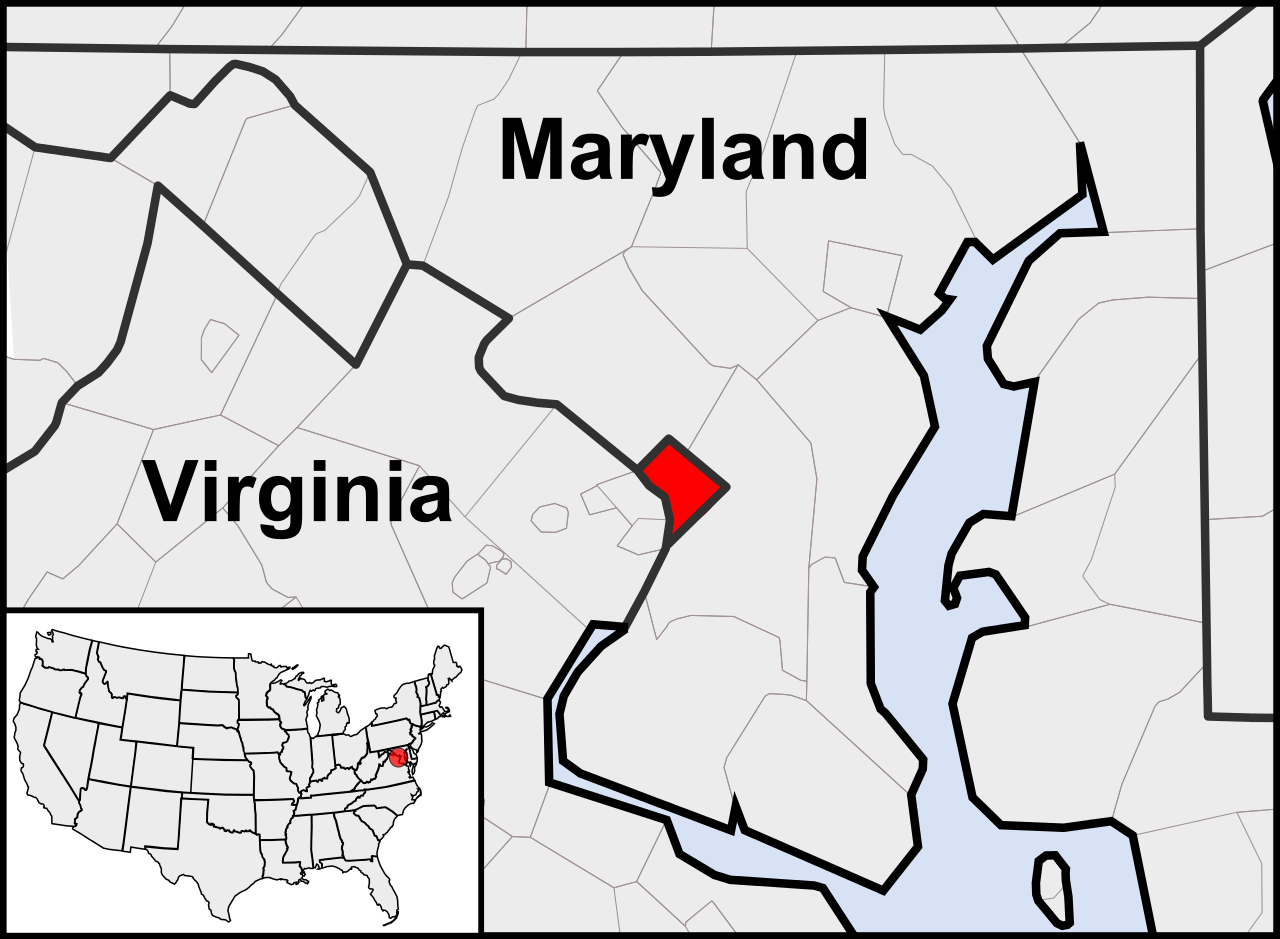 Location of Washington DC in the contiguous United States and in