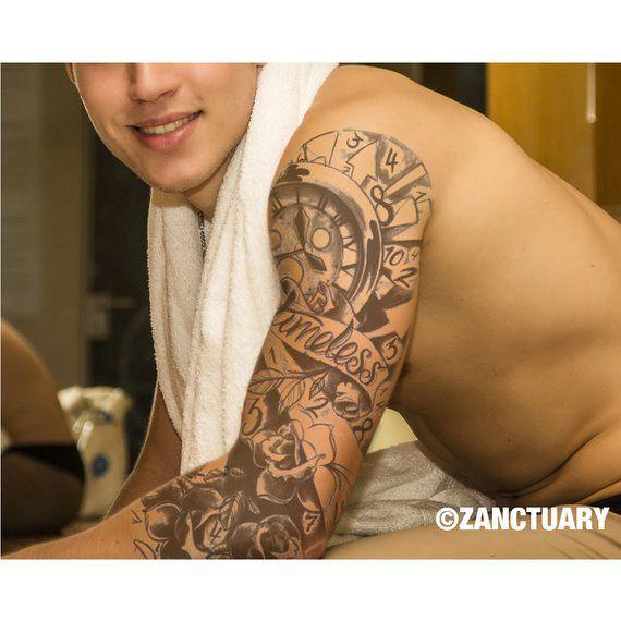 b074de0ec Men Temporary Tattoo Sleeve Black Rose Tattoo Arm Temporary Tattoo Men Fake  Tattoo Sleeve Full Arm T