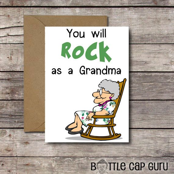 You Will Rock As A Grandma Funny Printable Card For Grandmother To Be New Baby Announcement Greeting Nana Instant Download