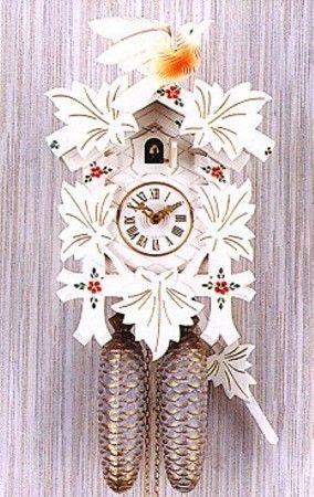 Cuckoo Clocks White Hand Painted Flowers Watch Video Model 1200w