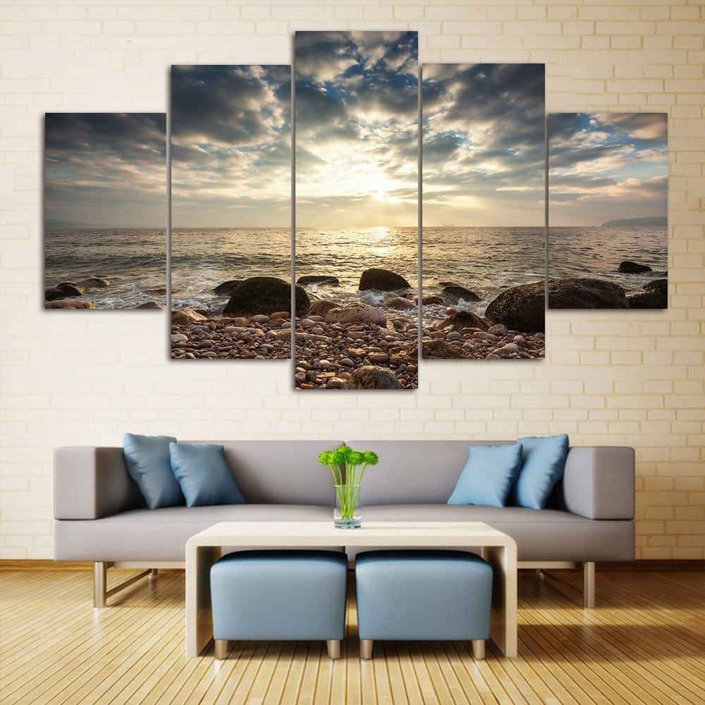 Sea stone beach split canvas prints wall art paintings colormix 1pc12312pcs12162pcs1224 inch no frame