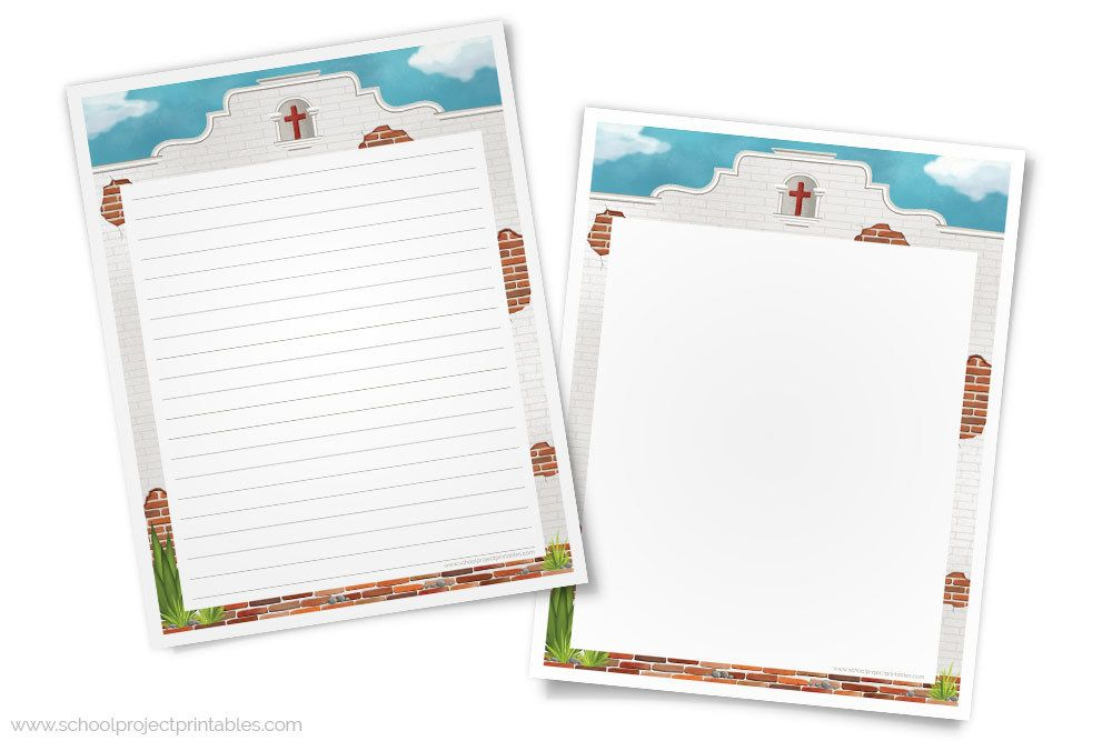 California Missions Writing Template Paper with Adobe