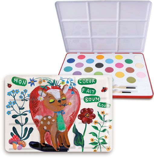It says for ages 4+, it's ok if I want this badly, right? <3 Vilac Nathalie Leten watercolor kit Bambi