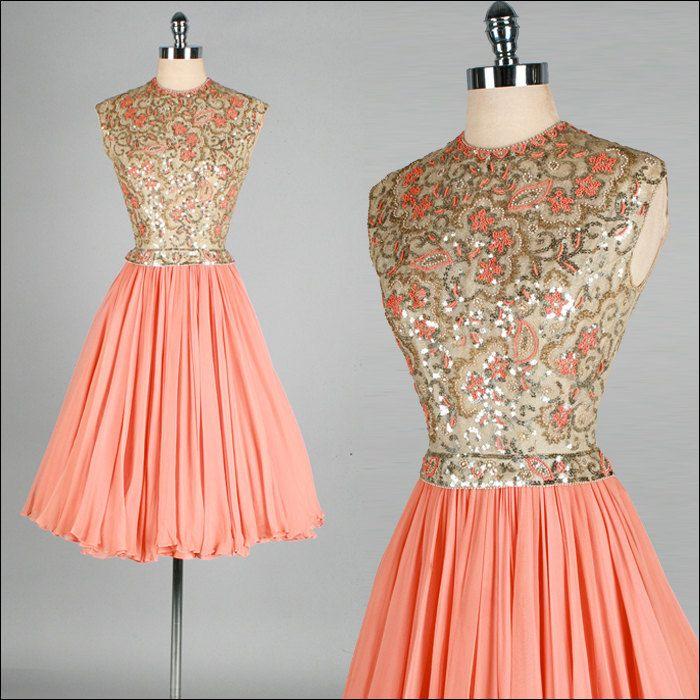 Vintage 1950s 1960s Dress Peach Chiffon Gold Sequins