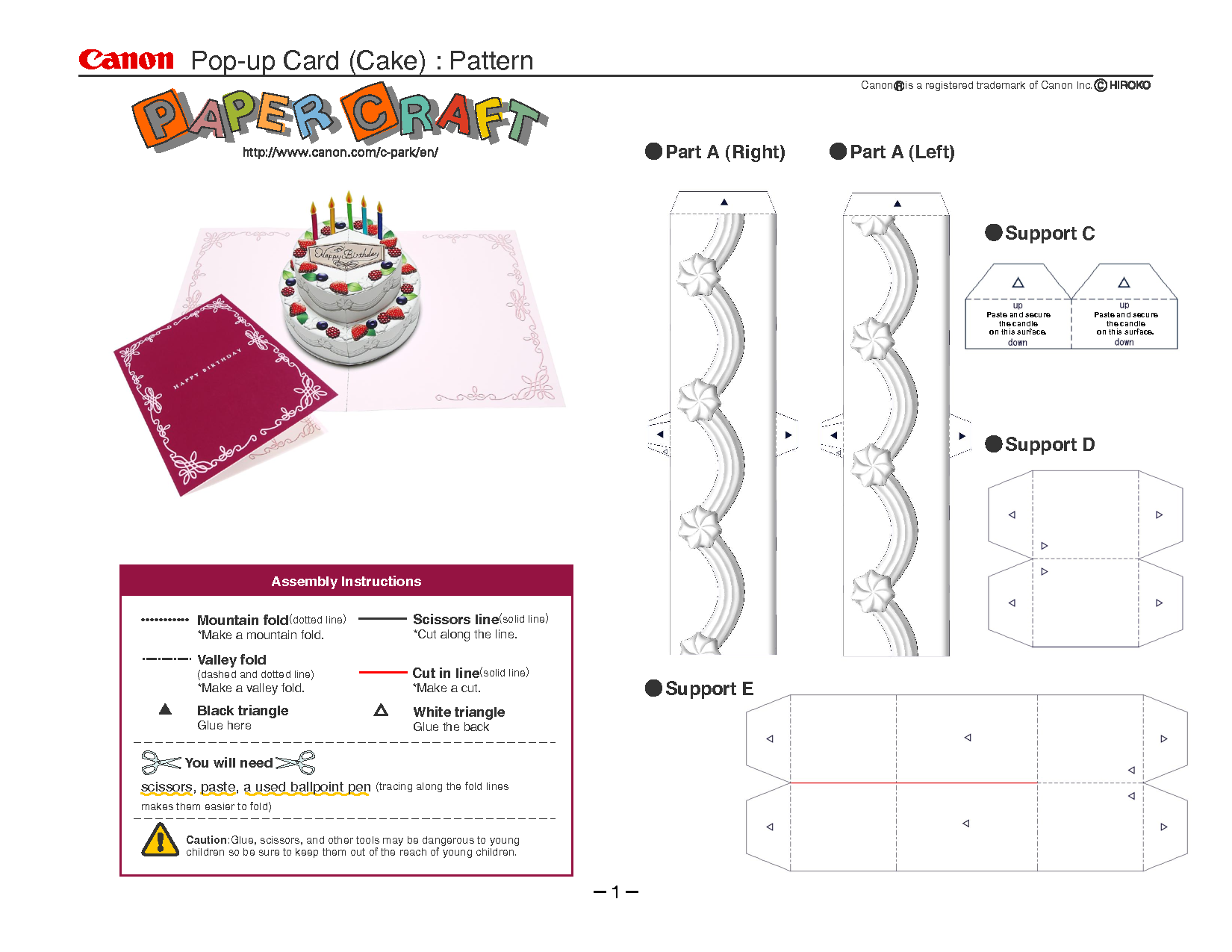 Birthday cake pop up card template card making for Free popup card templates