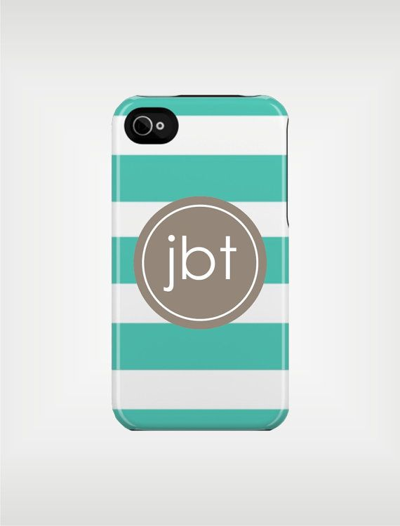Personalized iPhone Case 4 / 4S or 3G - Beach Stripe Aqua and Gray - original design by a drop of golden sun