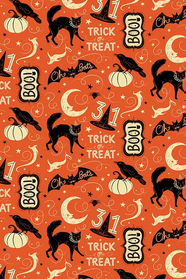 Colorful Fabrics Digitally Printed By Spoonflower Vintage Halloween Trick Or Treat Boo Vintage Halloween Designs Halloween Wallpaper Vintage Wallpaper Patterns