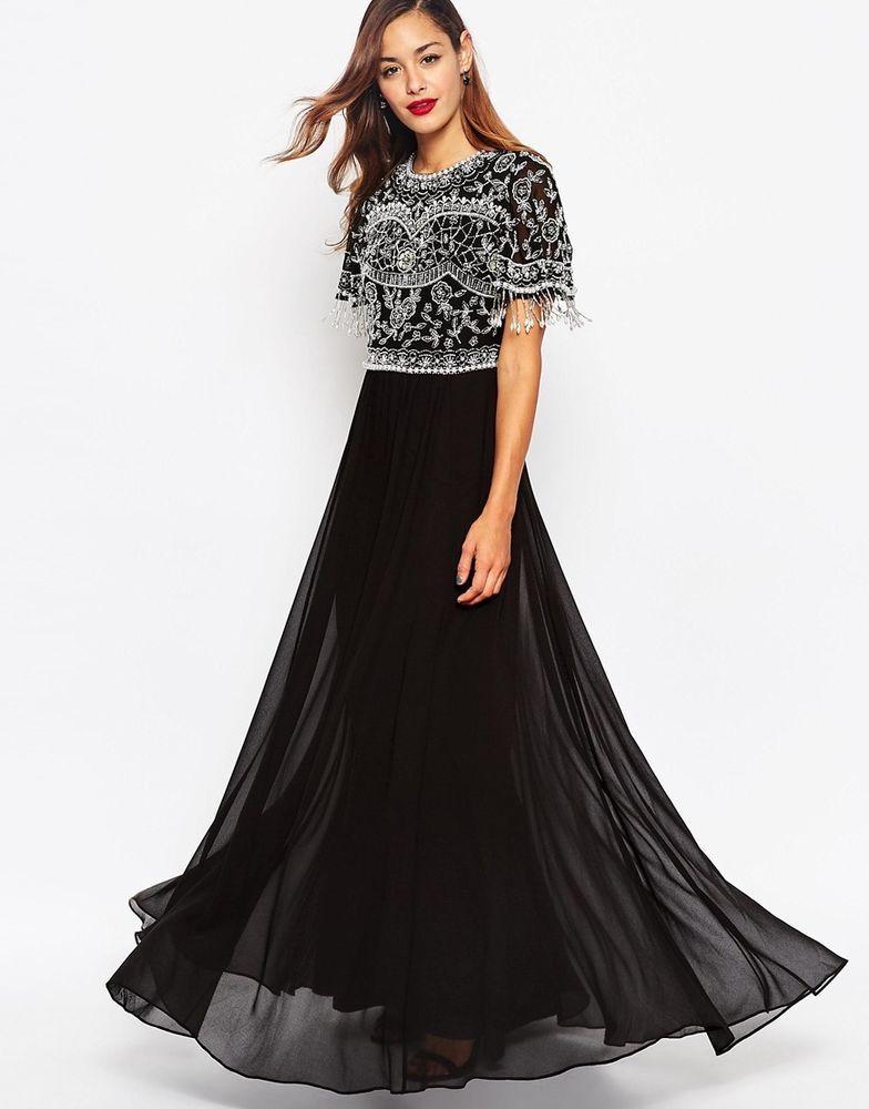 ASOS Beautiful Embellished Maxi Dress With Sequin Fringe Sleeves UK ...
