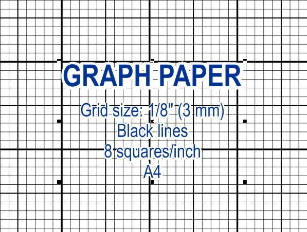 Graph Paper, Printable 3 Mm Grid, Cross Stitch Design, 8 Squares Per Inch,  Black Lines, A4, Instant Download, PDF