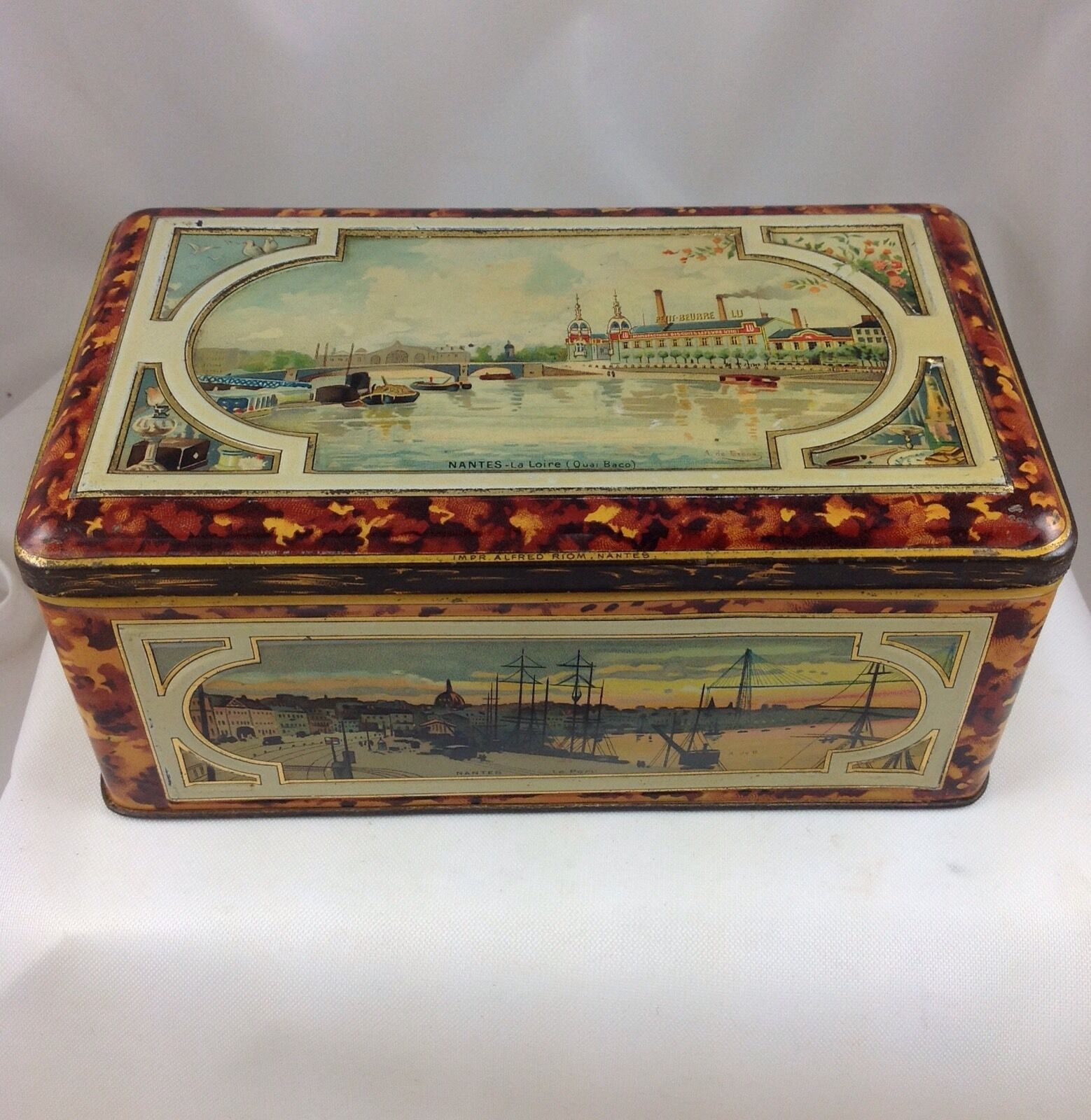 Biscuits Lefevre Utile Nantes Biscuit Tin France C1905 City Views Nantes Vintage Tea Tins Biscuit Tin