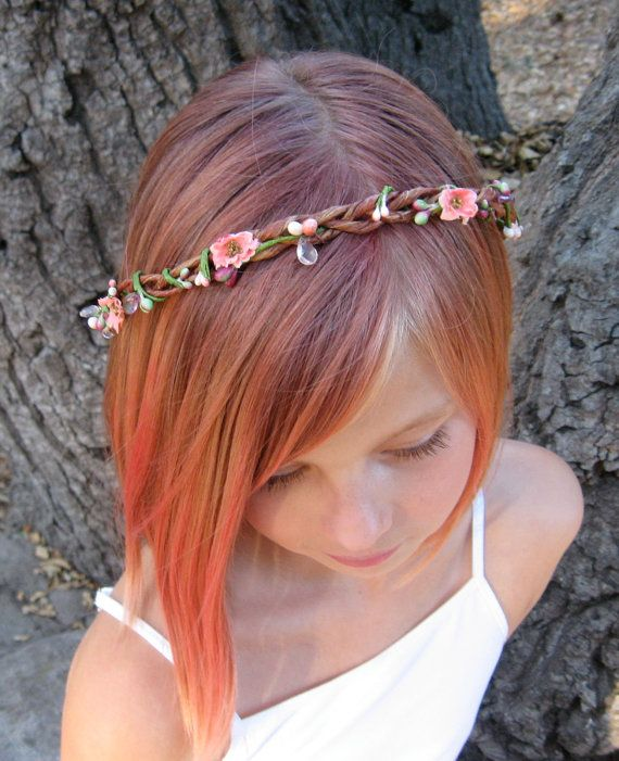 Breath of Spring Flower Girl Wreath - sweet pom pom rose buds in peach circle a rustic bark-covered braided crown with delicate berry vines on Etsy, $23.00