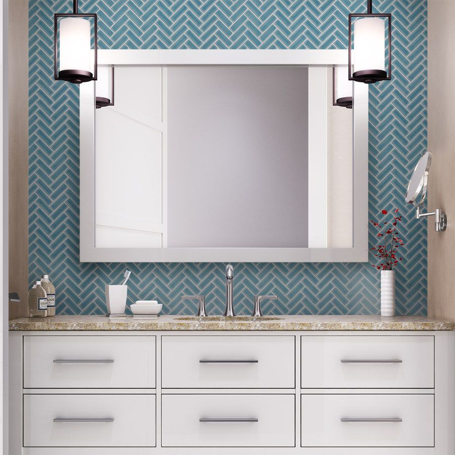 Elevate an all white bathroom with a contrasting sea blue - White ceramic wall tiles bathroom ...