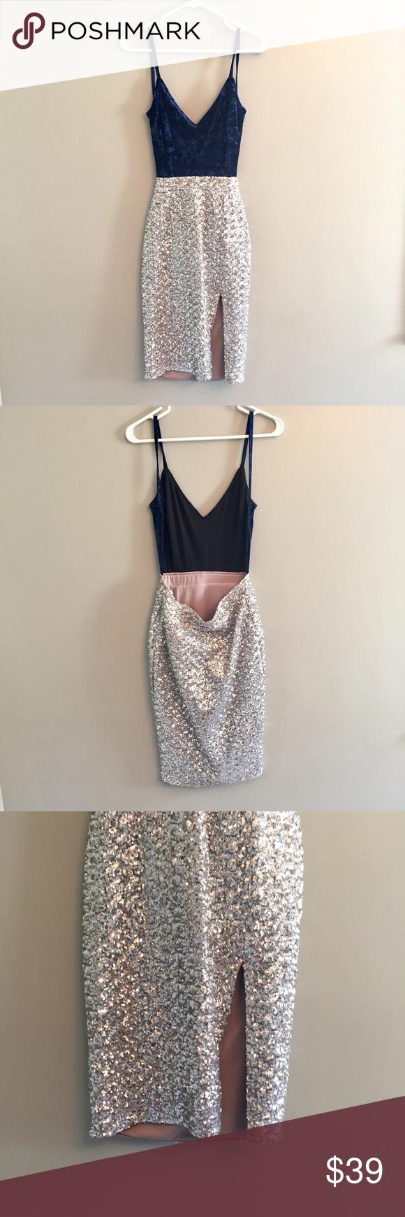 Foreign Exchange Velvet And Sequin Backless Dress I