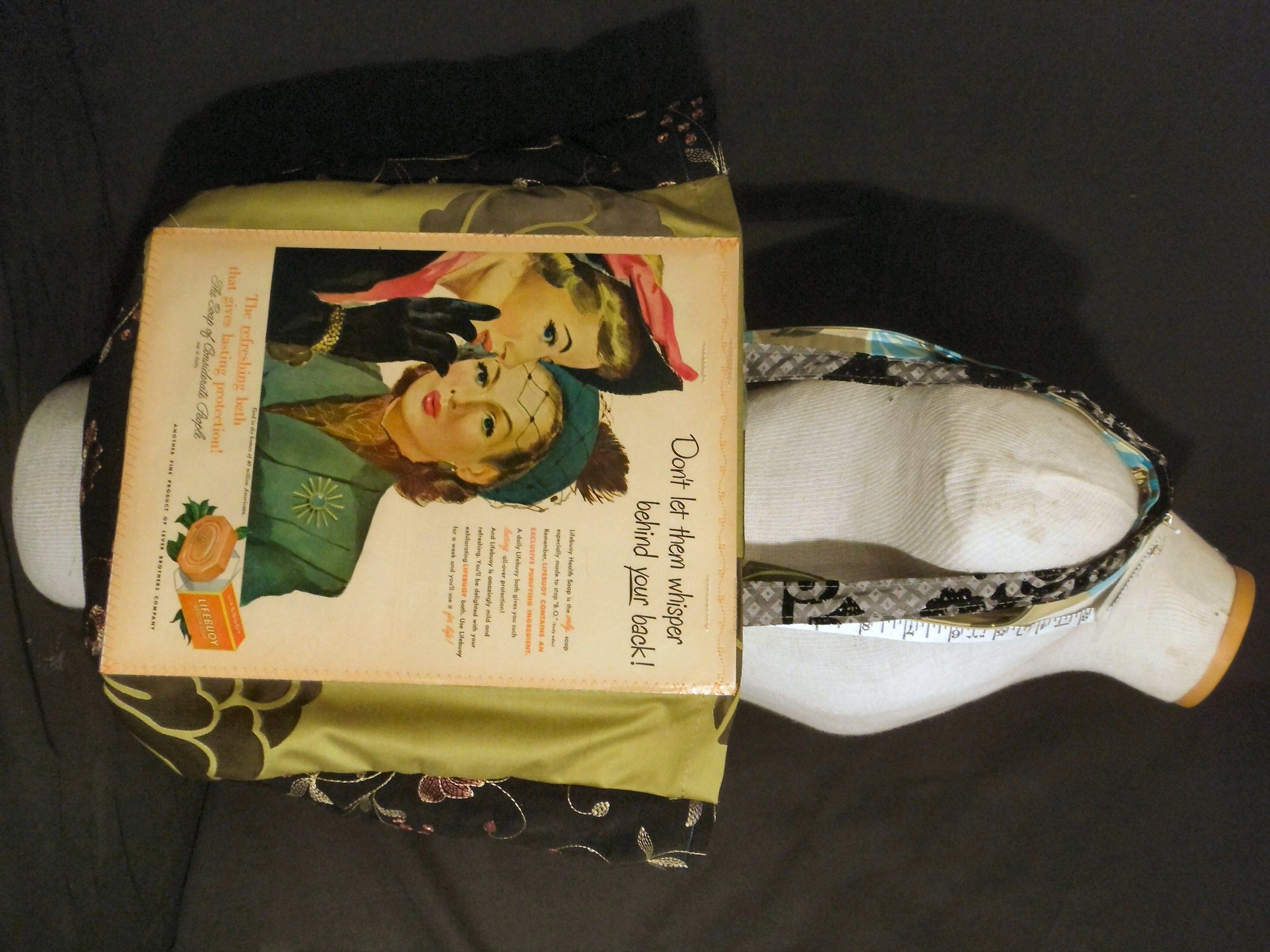 This is such a scandalous ad from the 1950's!  This is the ORIGINAL magazine advertisement reDesigned into a reTroToTe!  99% reCycled-reUsed-rePurposed... 100% reDesigned & reTro!  All hand designed and hand sewn.  $50.00 each.
