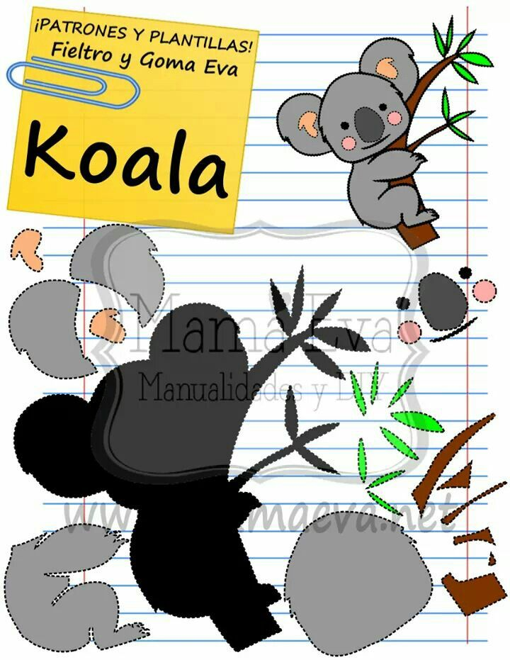 Plantilla de Koala en Goma eva! En www.mamaeva.net , La Web de las ...