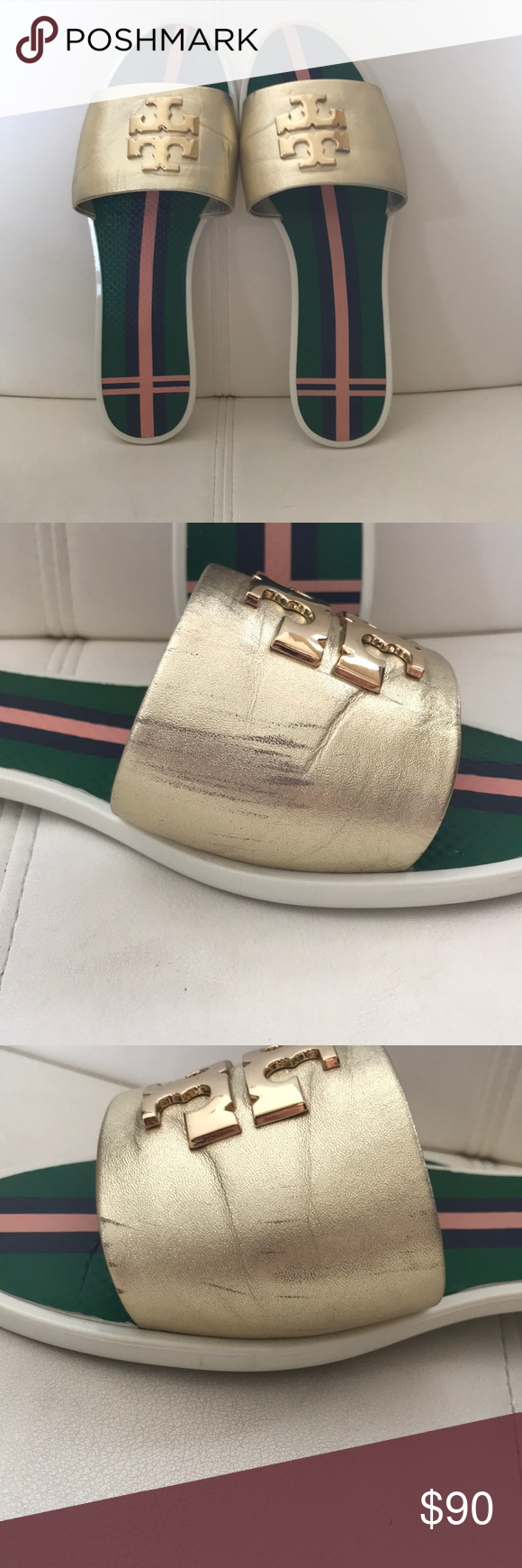 8d69f987778 Tory Burch logo metallic jelly slide Sporty and refined in metallic leather  slide. Gently used