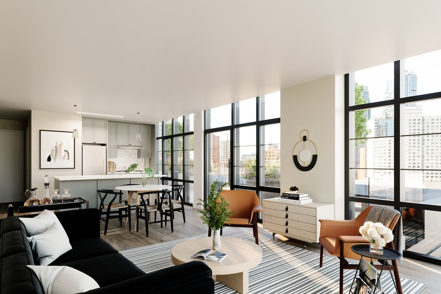 1 Flatbush Avenue Apartment Furnishing By Alchemy Studio Downtown Brooklyn Ny Living Room Comfy Couch Bar Areas