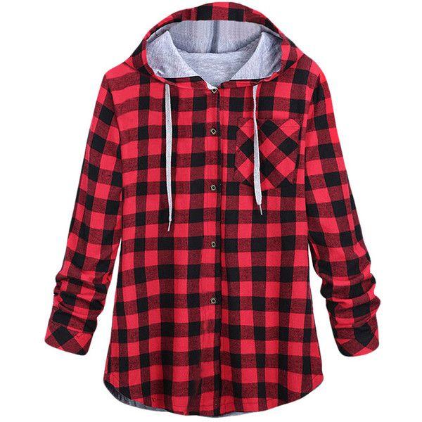 LISTHA Plaid Hooded Cardigan Women Long Sleeve Hoodie Jacket Coat Button Blouse