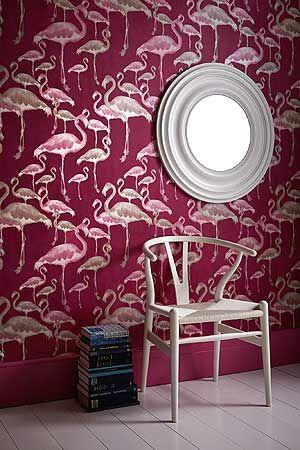 Design Tapete rot violett lila pink Flamingos Tapeten Wohnzimmer - wohnzimmer ideen pink