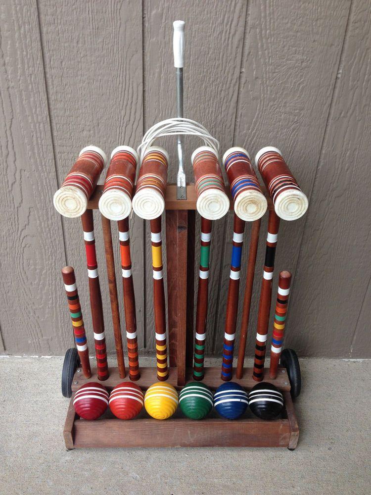 Vintage Forster Skowhegan Wooden Croquet Set 6 Player Wood