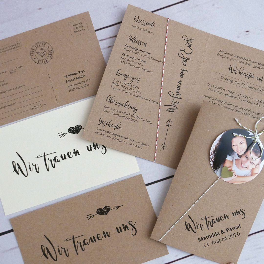Dulce nueva tarjeta de boda con foto y hilo de panadería. Para doblar hasta 300 gr …