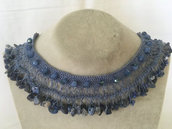 Lapis Handmade Necklace Crocheted Jewelry handcrafted Jewellery with Semi Precious/Natural Stones -Blue col