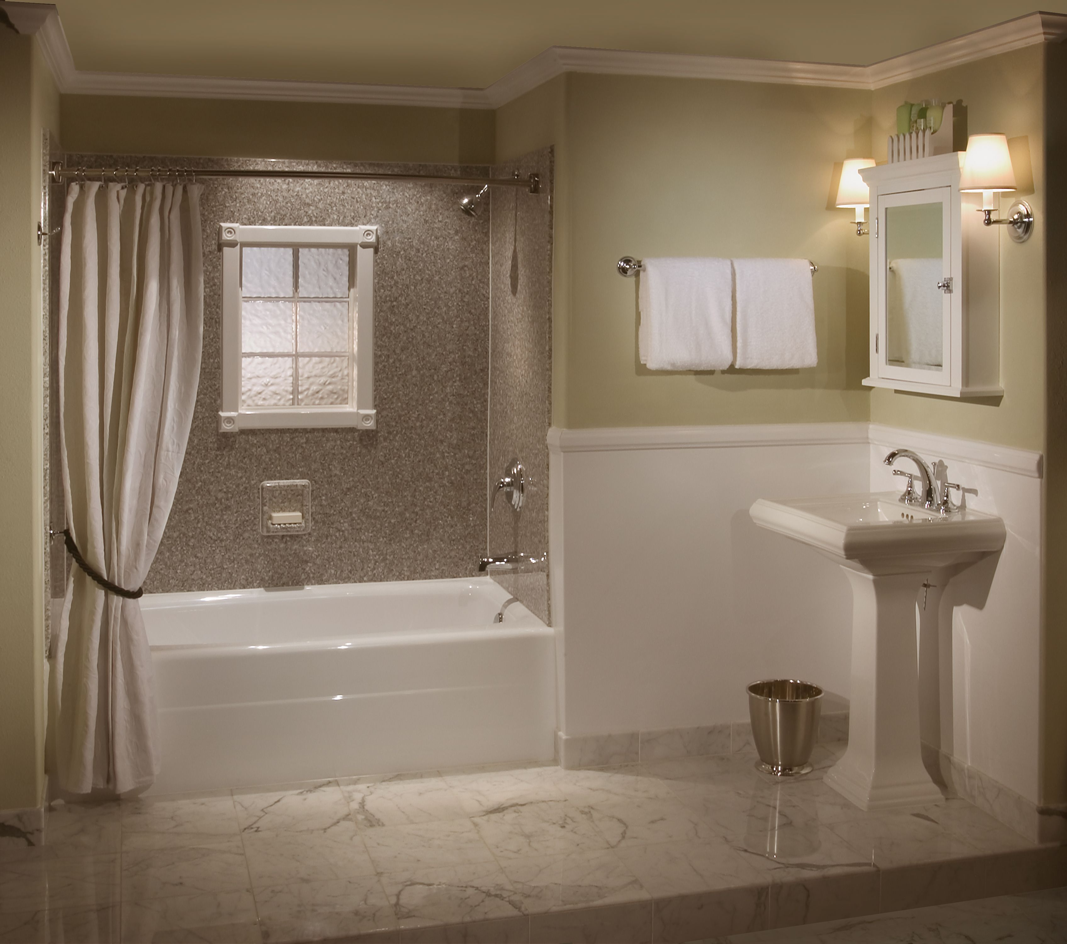 Engaging Bathroom Remodel Idea With White Pedestal Sink