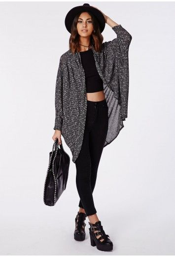 b13aa88e0b2c Wrap yourself up in our grey melange cocoon shape cardigan ...