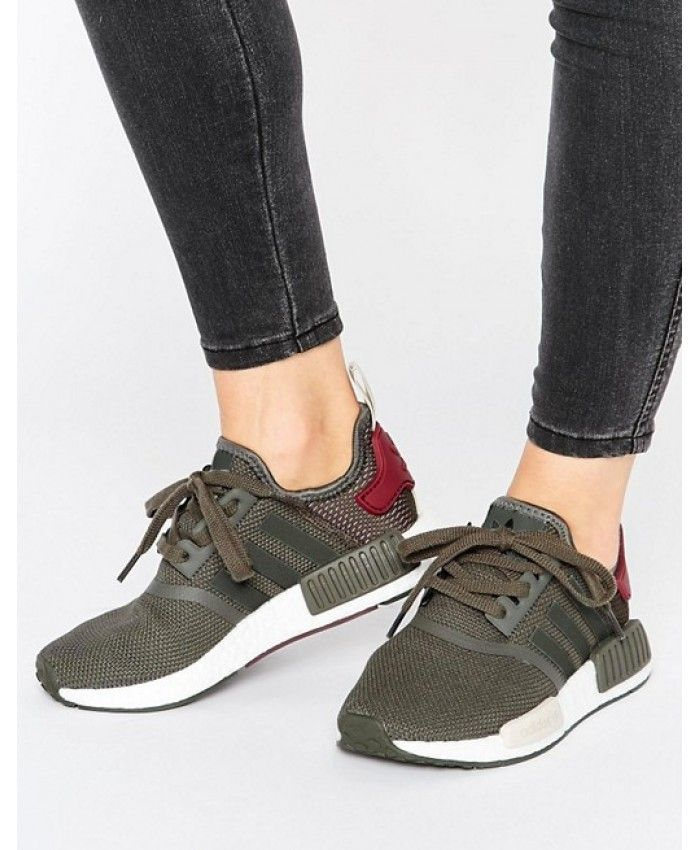 Adidas NMD Trainers In Khaki Red White | Brandy melville