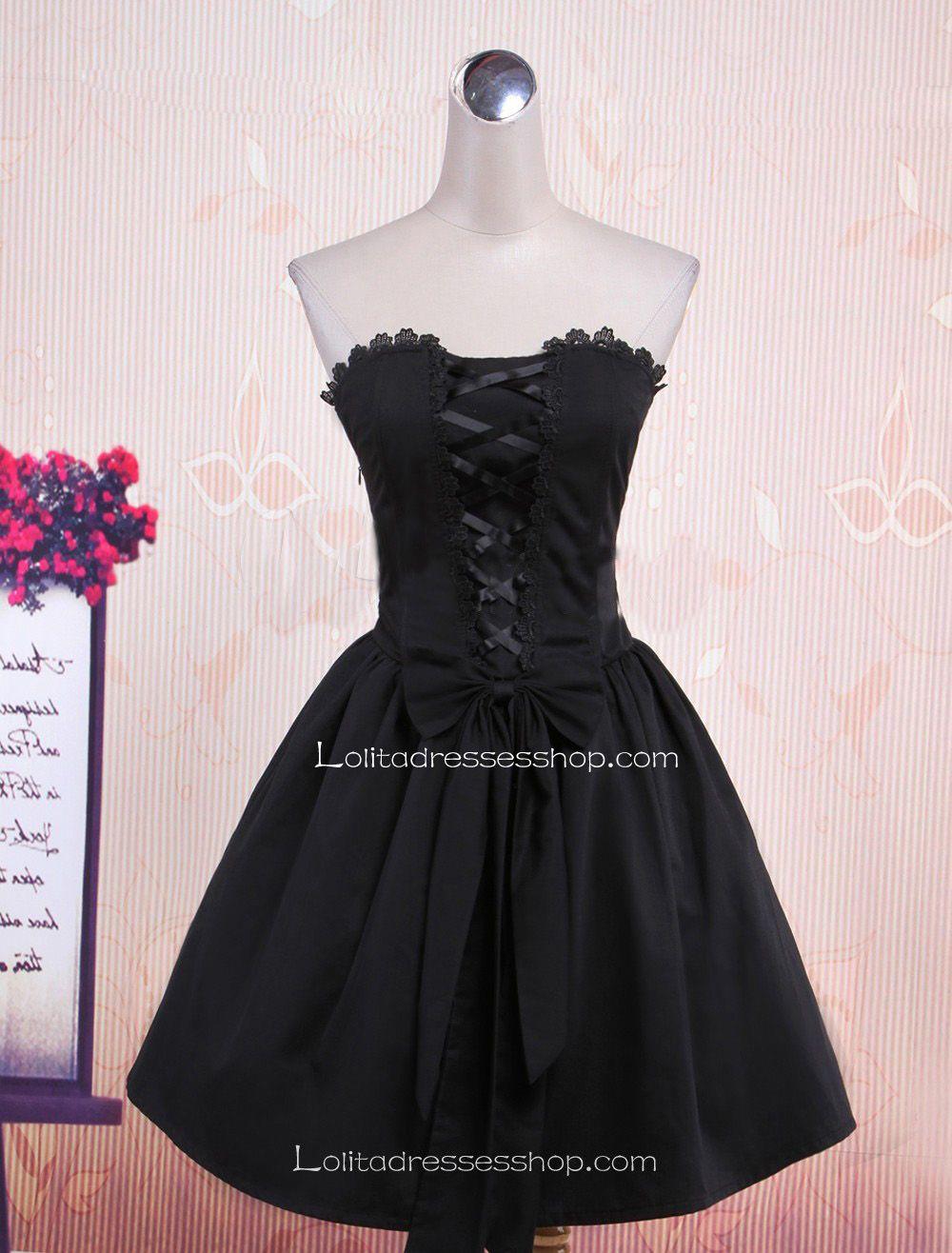 cheap black tube top sleeveless plain bow punk lolita dress sale at