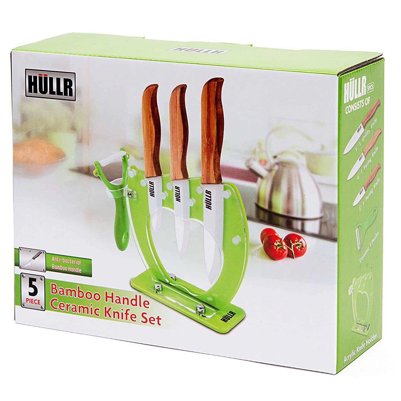 Hullr Ceramic Blade Bamboo Handle 5 Piece Kitchen Knife Set Best