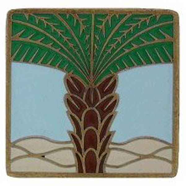 Royal Palm/Pale Blue in Antique Brass (Enameled) (NHK321-AB-B)