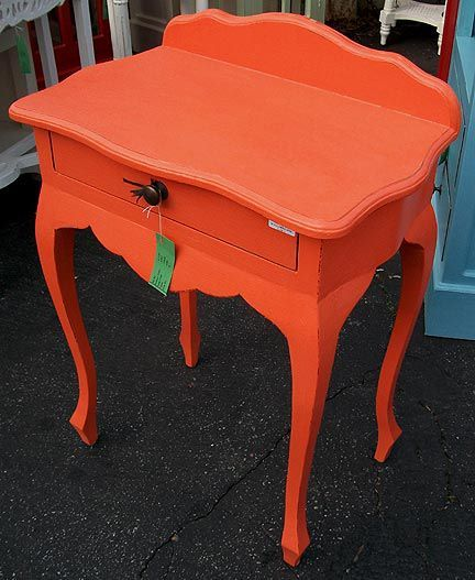 Bed Side Table Orange Nadeau With Images Bedside Table Redo